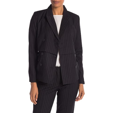 Nicole Miller Womens Blazer Black Size 8 Notched Lapel Pin Stripe