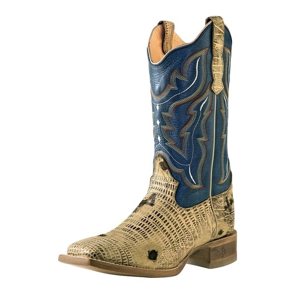 Outlaw Western Boots Womens Lizard Square Stitching Oryx Blue