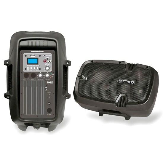 Loudspeaker PA Cabinet Speaker System, Powered 2-Way Full Range Sound, USB Reader, Aux Input, 8-Inch, 600 Watt