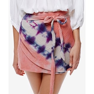 Free People Cotton Tie Dyed Faux Wrap Mini Skirt - 6