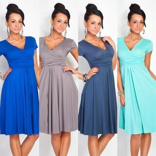 Pregnant Women Summer Comfy Maternity Dress Casual Loose V-Neck Pleated Dress