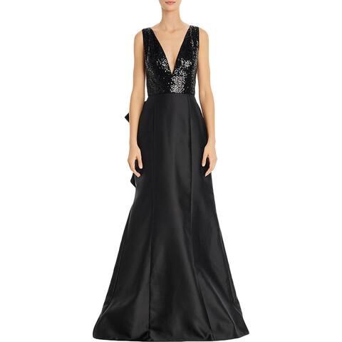 Adrianna Papell Womens Evening Dress V Neck Bow - Black