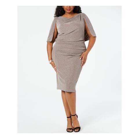 BETSY & ADAM Brown Below The Knee Sheath Dress Size 22W