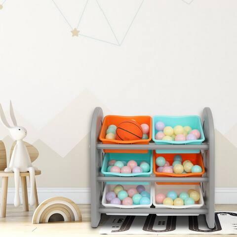 Kids' Toy Storage Organizer with 6 Plastic Bins,Grey