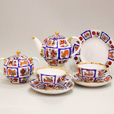 Imperial Porcelain Factory Lomonosov Lubok 20-Pc. Tea Set for 6