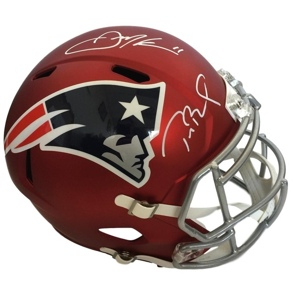 Tom Brady Julian Edelman Signed Patriots FS Blaze Replica Helmet JSA TriStar c0af5e493