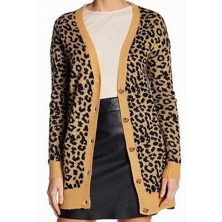 Abound Yellow Women's Size XXS Button Down Cardigan Leopard Sweater