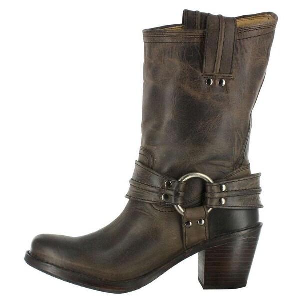 FRYE Womens Carmen Harness Leather Closed Toe Mid-Calf Fashion Boots