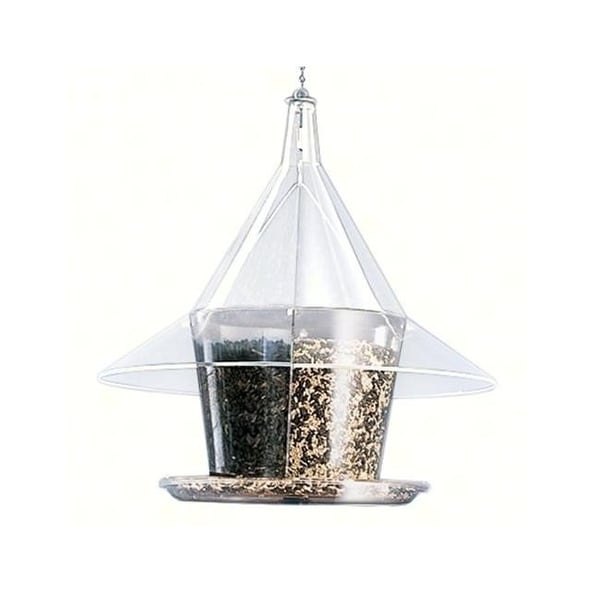 "17"" Clear Circular Full-View Patio Mandarin Sky Cafe Bird Feeder with Dividers - N/A"