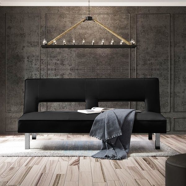 TiramisuBest Convertible Sleeper Sofa Black PU. Opens flyout.