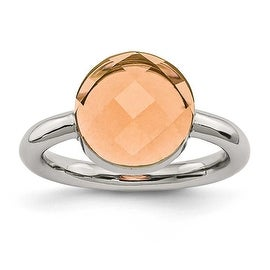 Chisel Stainless Steel Polished Champagne Glass Ring
