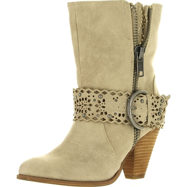 Not Rated Womens Grand Prairie Faux Suede Fashion Mid-Calf Boots - Cream