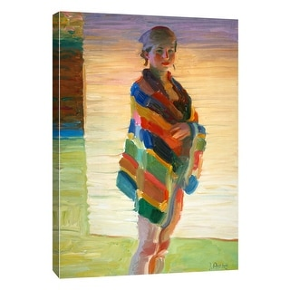 """PTM Images 9-105162  PTM Canvas Collection 10"""" x 8"""" - """"Beach Towel"""" Giclee Women Art Print on Canvas"""