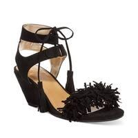 Material Girl Haniya Fringe Wedge Sandals Black - 7.5 b(m)