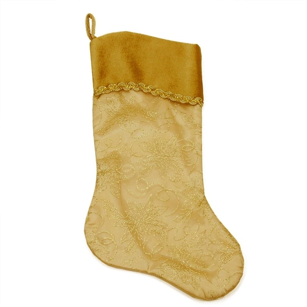 """20"""" Gold Glittered Poinsettia Christmas Stocking with Shadow Velveteen Cuff"""