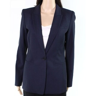 Lafayette 148 New York NEW Blue Women Size 10 Striped One-Button Blazer