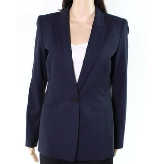 Lafayette 148 New York NEW Blue Womens Size 2 Striped One-Button Blazer