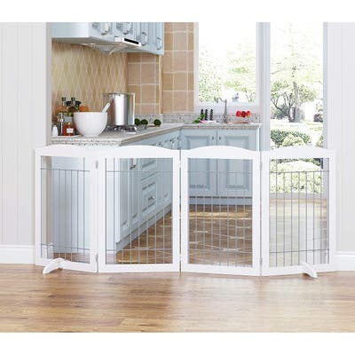 Spirich Freestanding Foldable Wire Pet Gate,Extra Wide and Tall Dog gate,30 inches Tall, 4 Panels, White
