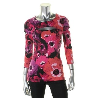Guess Womens T-Shirt Floral Print 3/4 Sleeves - s