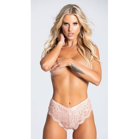 Dirty Talk Scalloped Lace Panty - Evening Sand