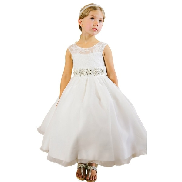 674baf5ce9 Shop Little Girls Ivory Corded Lace Illusion Neckline Organza Flower Girl  Dress - Free Shipping Today - Overstock - 18168956