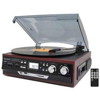 Boytone BT-17DJM-C 3-Speed Stereo Turntable, 2 Built in Speakers Digital LCD Display AM/FM, USB/SD/AUX+ Cassette/MP3 & Recorder