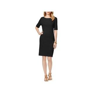 Karen Scott Womens Petites Casual Dress Boatneck Shift