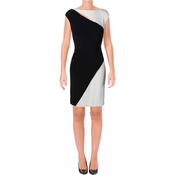 Lauren Ralph Lauren Womens Cocktail Dress Colorblock Ruched