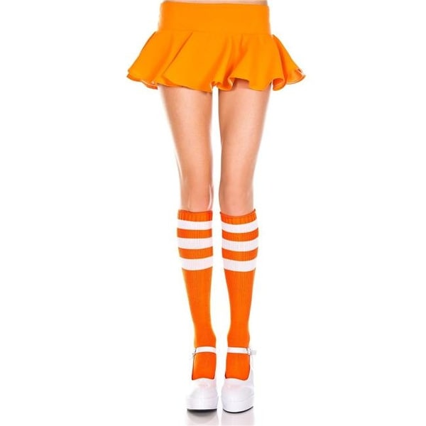 72b907aa62a Shop 5726-WHITE-NEON ORNG Acrylic Knee High Socks with Striped Top ...