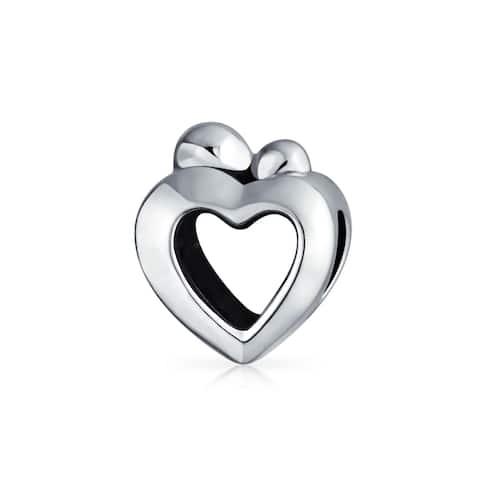 Heart Shape Mother Loving Family Child Love Charm Bead .925 Silver