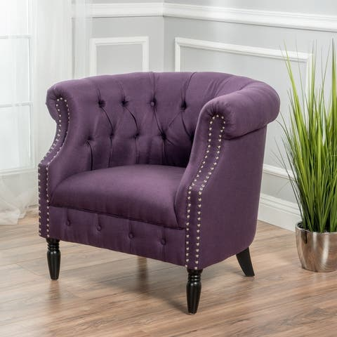 Akira Tufted Fabric Club Chair by Christopher Knight Home