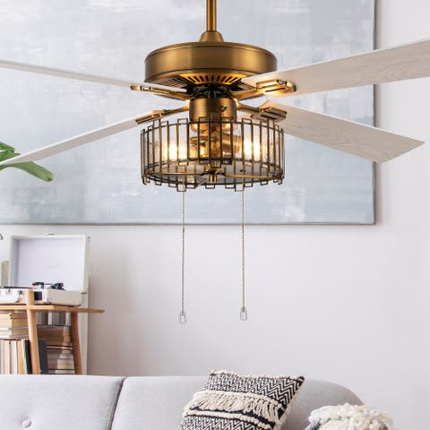 "Lily River of Goods Brass and Glass 52-Inch Ceiling Fan with Light - 52"" x 52"" x 13""/18"""
