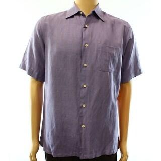 Tasso Elba NEW Purple Mens Size Small S Texture Button Down Silk Shirt