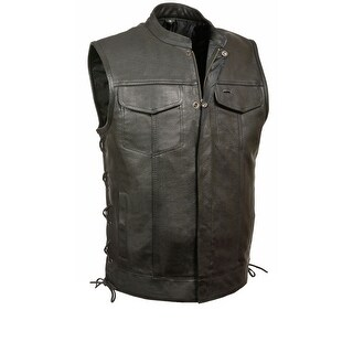 Mens Leather Snap / Zip Side Lace MC Vest