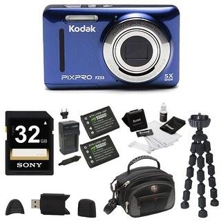 KODAK PIXPRO Friendly Zoom FZ53 Digital Camera (Blue) w/ 32GB SD Card Bundle