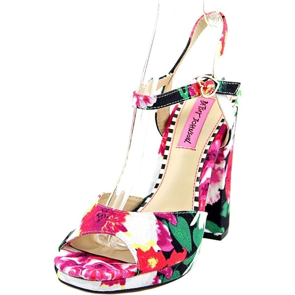 Betsey Johnson Isla Women Open Toe Canvas Multi Color Platform Sandal