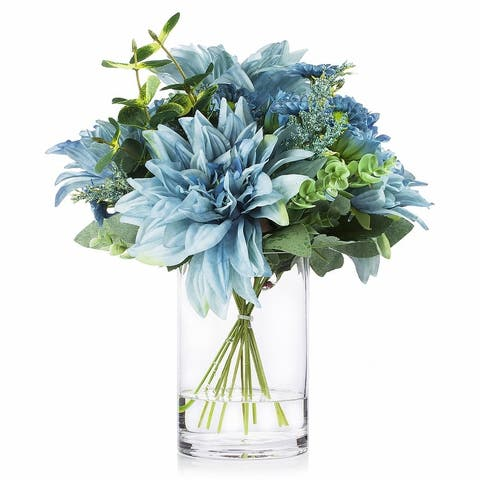 Enova Home Mixed Artificial Dahlia Flower and Eucalyptus Grass Arrangement in Clear Glass Vase With Faux Water