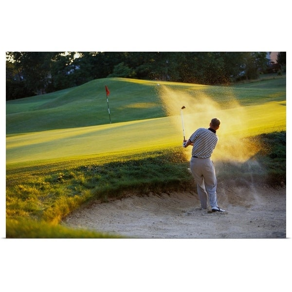 """""""Man hitting golf ball out of sand trap"""" Poster Print"""