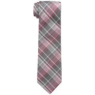 Calvin Klein NEW Pink Coral Graphite Schoolboy Plaid Mens Neck Tie Silk