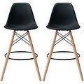 2xhome - 28-inch Plastic Chair DSW Black Counter Stool Bar Stool (Set of 2) - Thumbnail 0