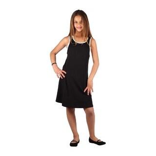 Lori & Jane Girls Black White Trim Sleeveless Loose Fit Casual Dress