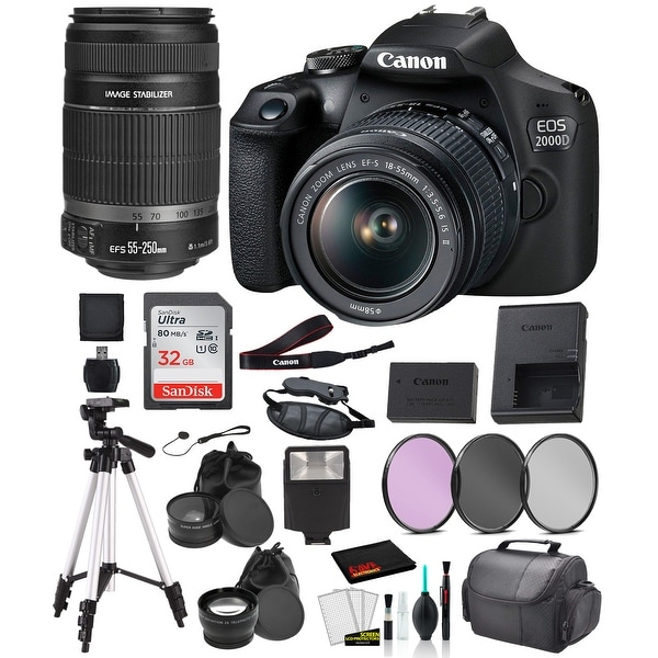 Canon EOS 2000D (REBEL T7) Digital SLR Camera 18-55MM IS ii and EF-S. Opens flyout.
