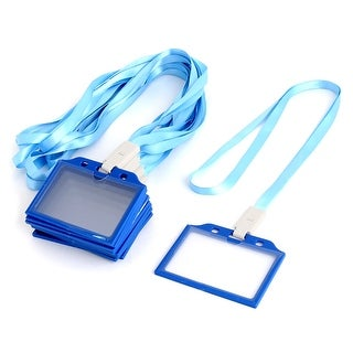 Office Plastic Horizontal Name Tag ID Card Holder Light Blue Clear 10 Pcs