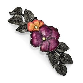 Blacktone Crystal & Pink, Purple Enamel Flower Hair Barrette
