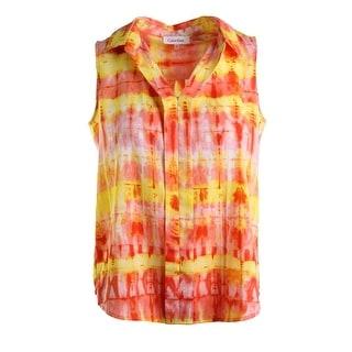 Calvin Klein Womens Tie-Dye Sleeveless Pullover Top - M