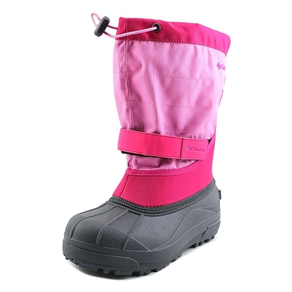 Columbia Powderbug Plus II Youth Round Toe Canvas Pink Snow Boot
