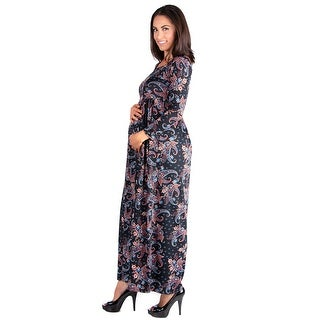 24seven Comfort Apparel Empire Waist Long Sleeve Maternity Maxi Dress