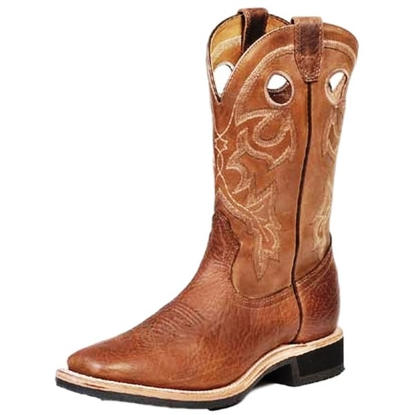 Boulet Western Boots Mens Cowboy Leather Camello Organza Brown