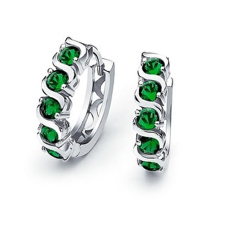 Bling Jewelry Sterling Silver Green CZ Waved Huggie Earrings
