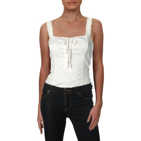 Free People Womens Make Me Bodysuit Cotton Lace-Up